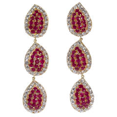 Diamond Ruby Tear Drops Dangle Earrings