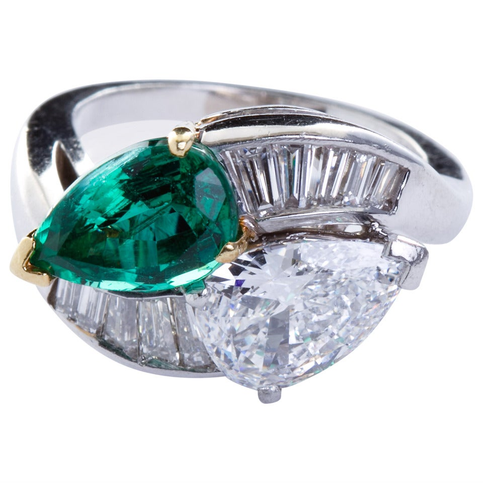 pear shaped emerald platinum bypass ring at 1stdibs