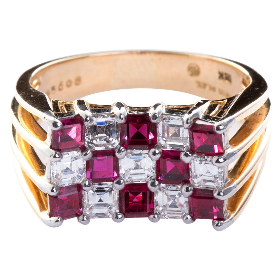 Oscar Heyman Ruby Diamond Gold Checkerboard Ring