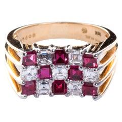 Oscar Heyman Ruby Diamond Gold Checkerboard Ring