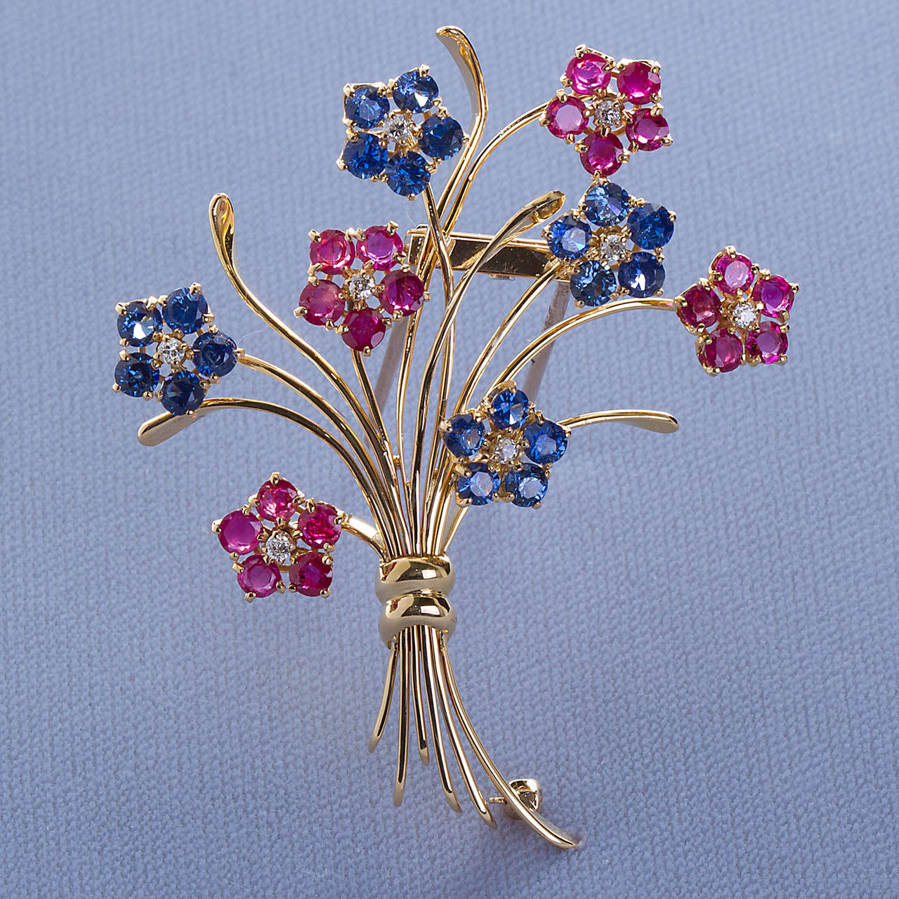 Van Cleef and Arpels French Ruby Sapphire Flower Brooch For Sale at ...