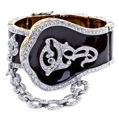 Gone with the Wind Revival Black Enamel Diamond Cuff Bracelet