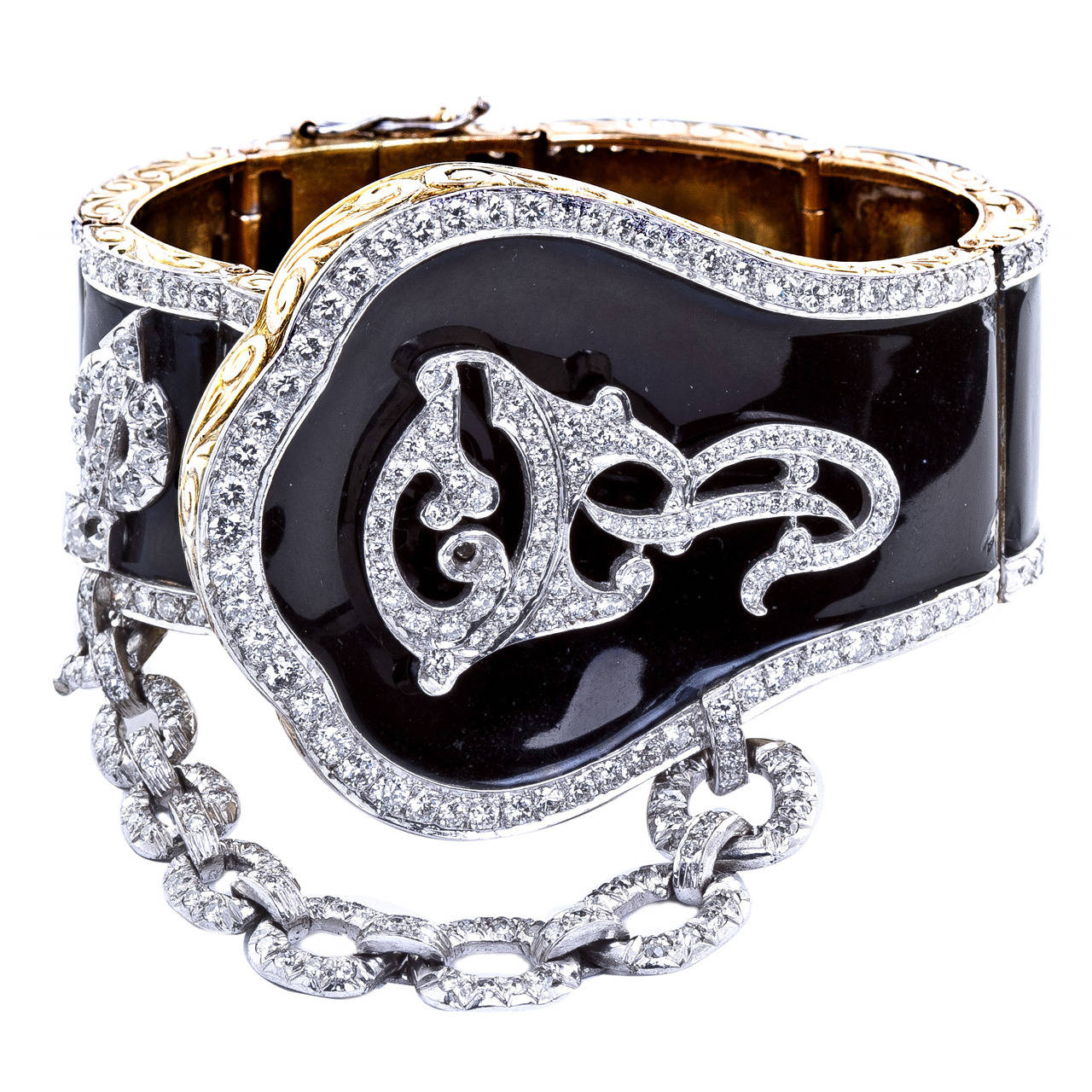 Gone with the Wind Revival Black Enamel Diamond Cuff Bracelet 1