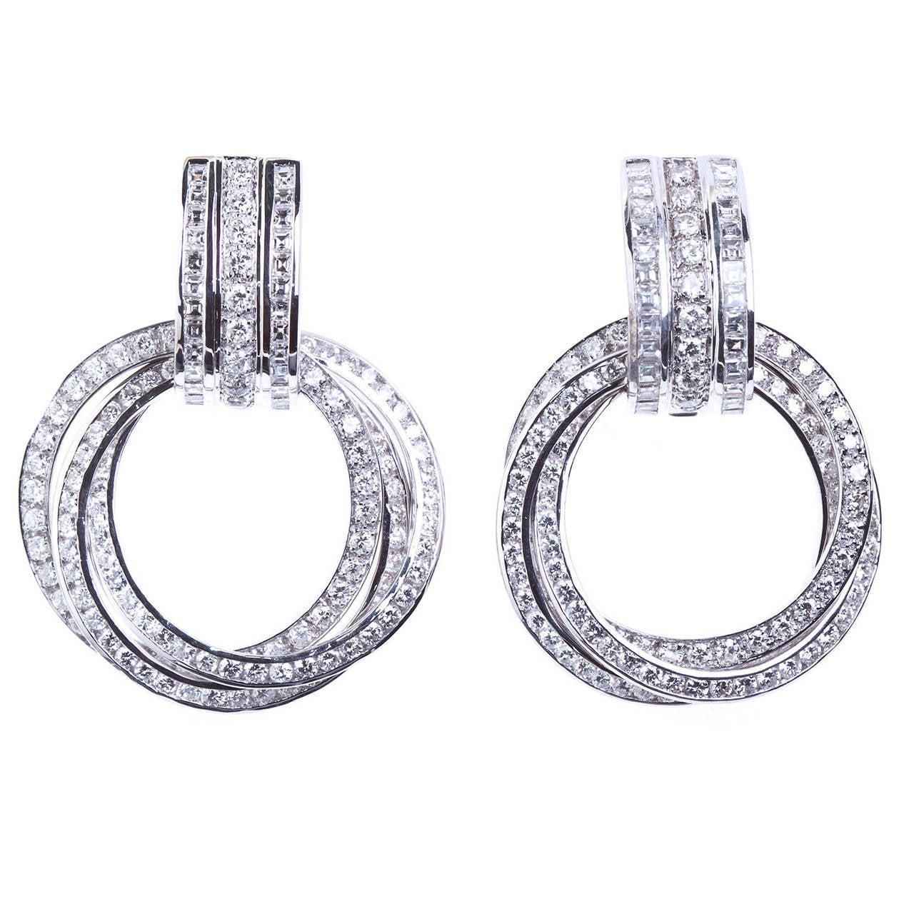 Diamond Triple Ring Hoop Ear Clips 7 Carats