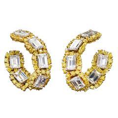 Yellow and White Diamond Gold Hoop Earrings 12.40 Carat