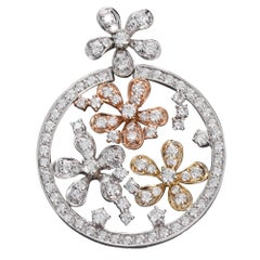 Diamond Tricolor Gold Florets Circle Pendant