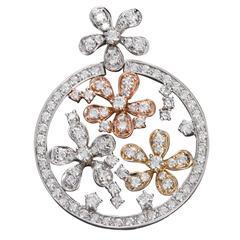 Diamond Tricolor Gold Florets Circle Pendant