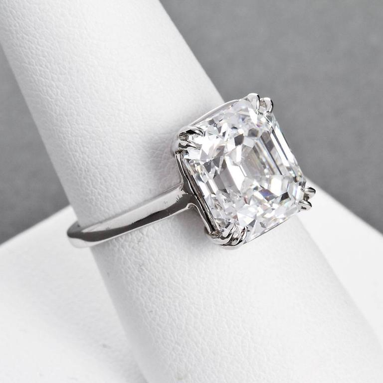 6 Carat Gia E Vvs2 Emerald Diamond Solitaire Engagement Ring For