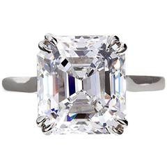 6 Carat GIA E/VVS2 Emerald Diamond Solitaire Engagement Ring