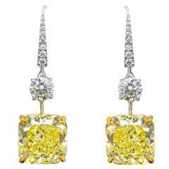 GRAFF London 12 Ct Fancy Intense Yellow Flawless Diamond Pendant Earrings