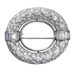Art Deco Diamond Platinum Oval Open Combination Brooch Scarf Pin