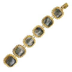 Antique George IV Moss Agate Gold Link Bracelet