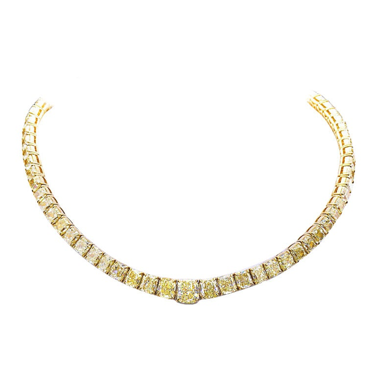 100 Carat Grand Fancy Yellow Diamond Necklace
