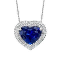 8.05 Carat Blue Heart Shape Sapphire Diamond Platinum Pendant