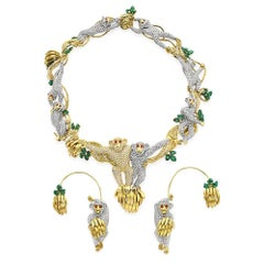 Massoni Suite of Monkey Themed Diamond Emerald and Ruby Jewelry Elizabeth Taylor