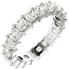 Asscher Cut Diamond Platinum Eternity Band Shared Prong Set
