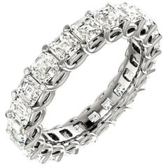 Asscher Cut Diamond Platinum Eternity Band Shared Prong Weave Set