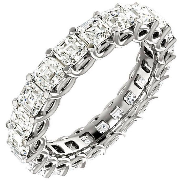 Asscher Cut Diamond Platinum Eternity Band Shared Prong Weave Set