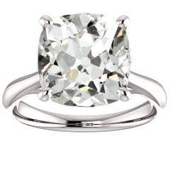 4.78 Carat Antique Cushion Cut Diamond Platinum Engagement Ring GIA Report
