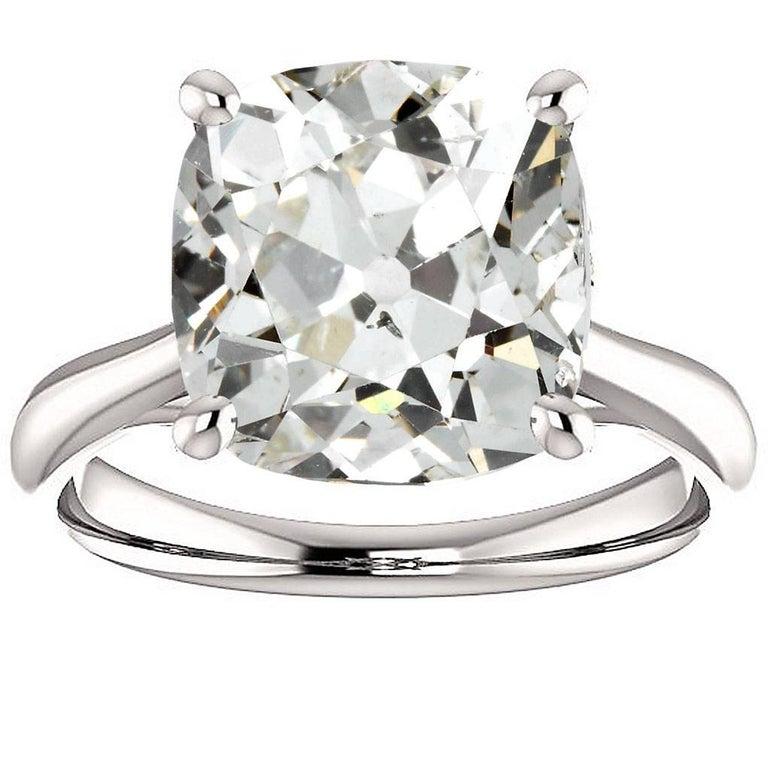 4.78 Carat Antique Cushion Cut Diamond Platinum Engagement Ring GIA Report