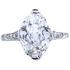 Antique Oval Diamond 3.18 Carat D-IF Platinum Ring Type 2a GIA Certified