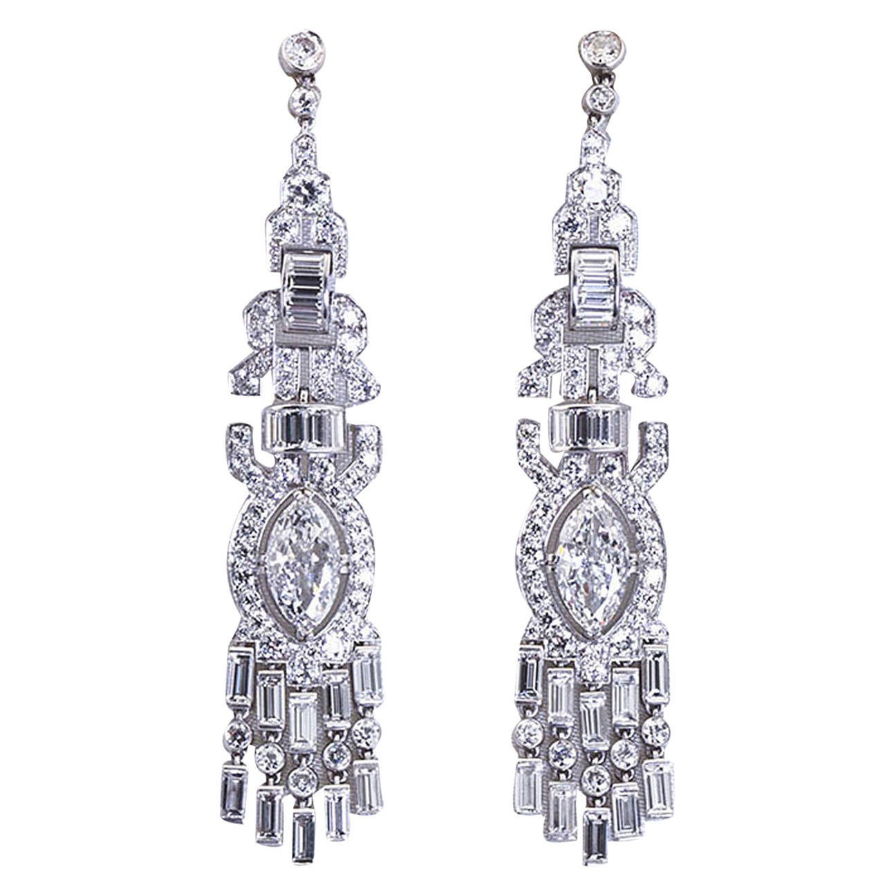 Art Deco Fancy Cut GIA Report Diamond Platinum Dangle Earrings