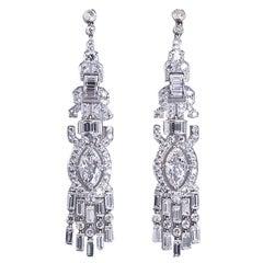 Art Deco Fancy Cut GIA Report Diamond Platinum Dangle Earrings