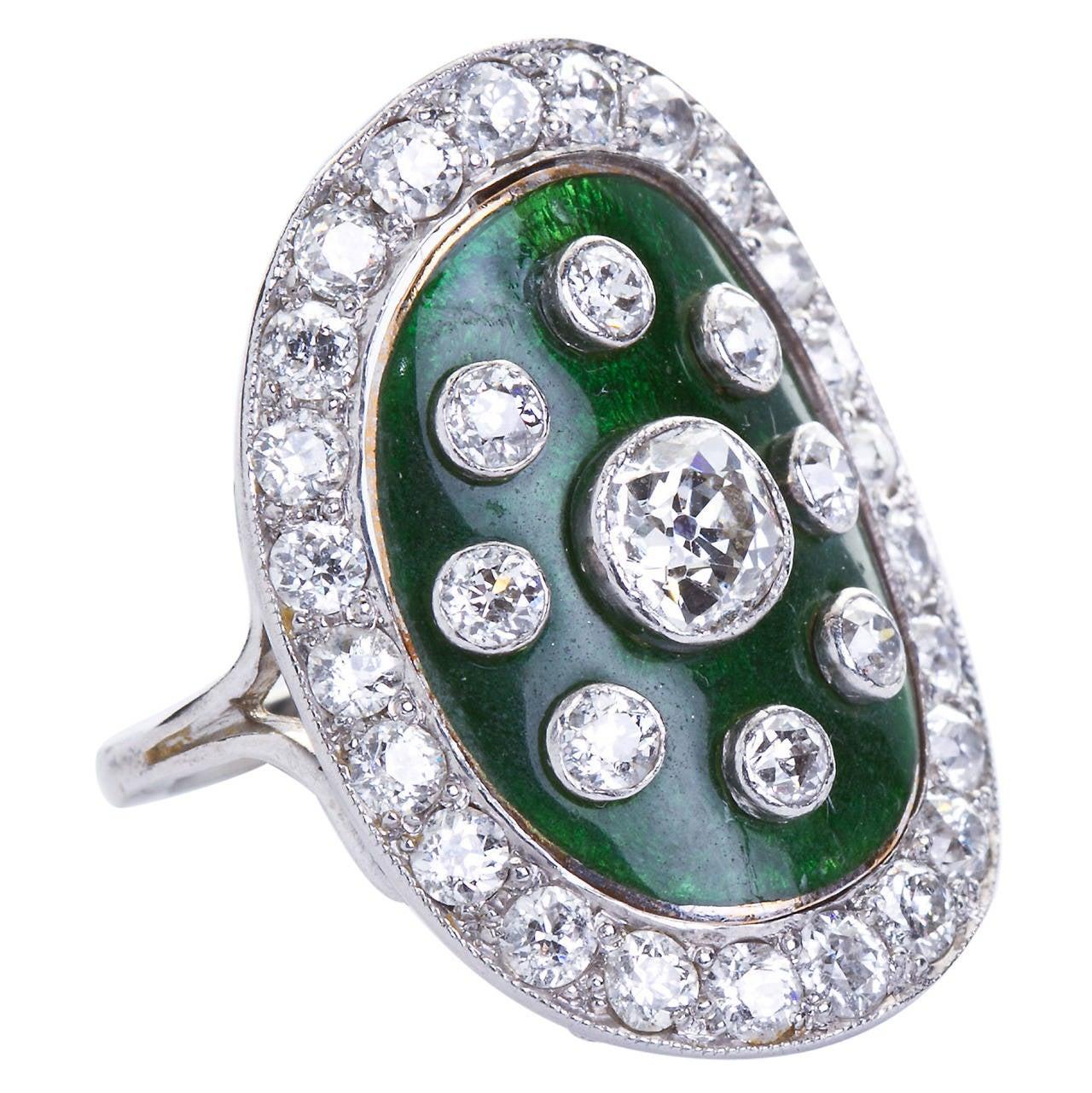 art deco green enamel cloisonne diamond cocktail ring for sale at 1stdibs. Black Bedroom Furniture Sets. Home Design Ideas