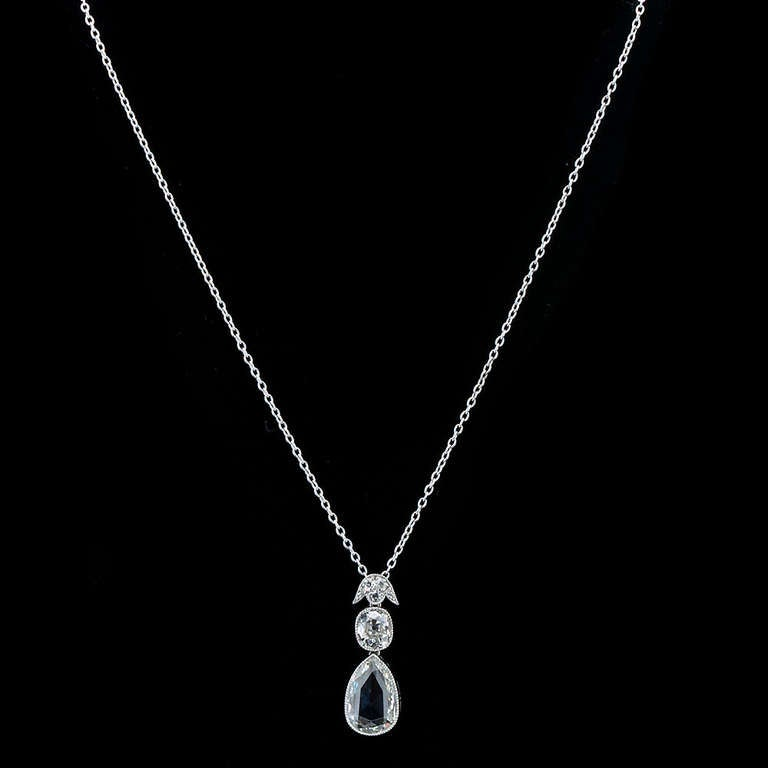Pear Shape Rose-Cut Diamond Platinum Pendant 4