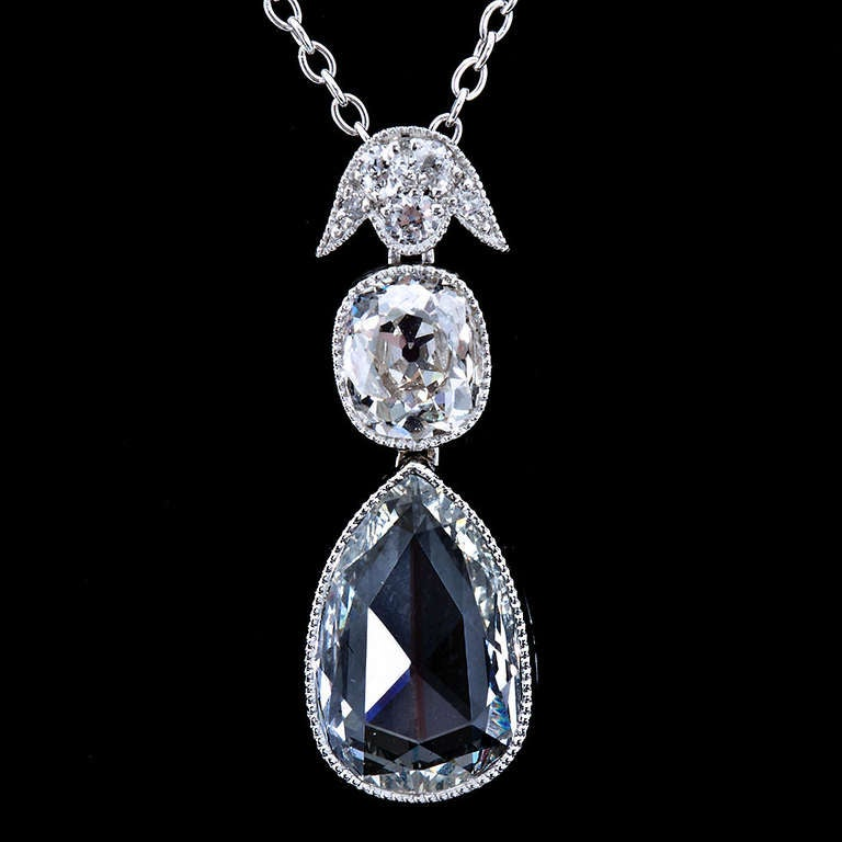 Pear Shape Rose-Cut Diamond Platinum Pendant 2