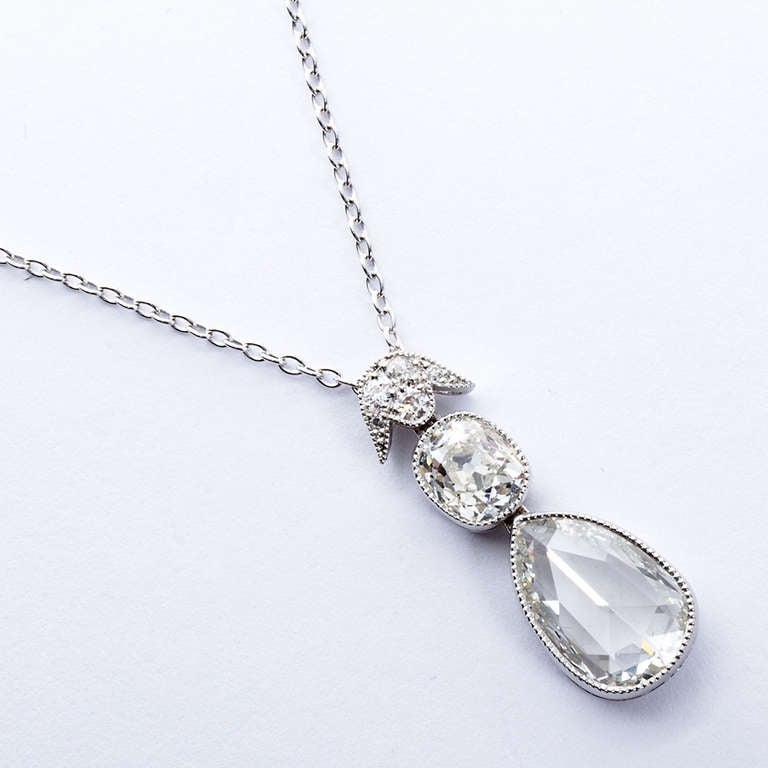 Pear Shape Rose-Cut Diamond Platinum Pendant 5