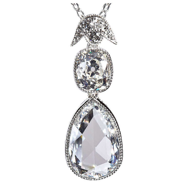 Pear Shape Rose-Cut Diamond Platinum Pendant 1