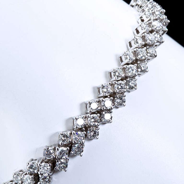 Three Row Diamond Tennis Bracelet At 1stdibs