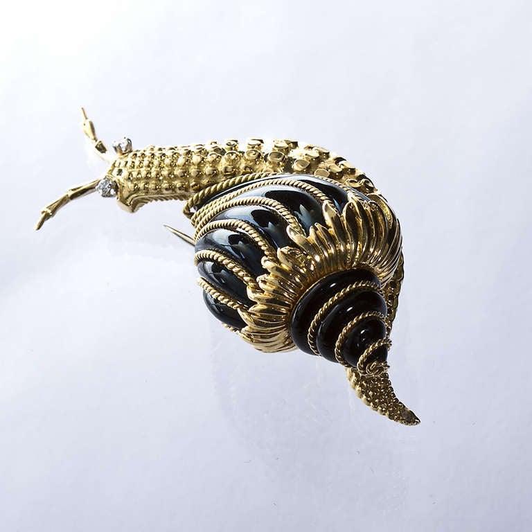 David Webb Black Enamel Snail Brooch 2