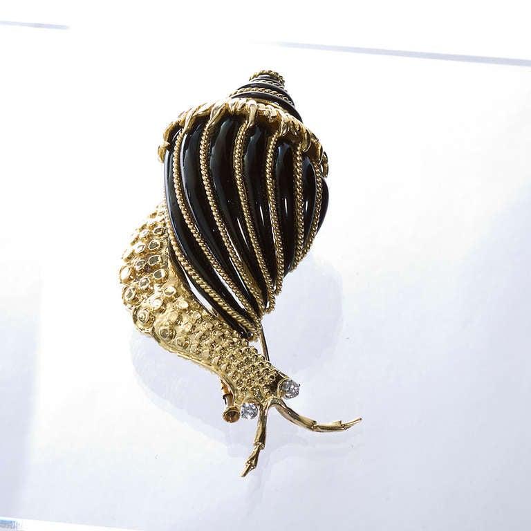 David Webb Black Enamel Snail Brooch 4