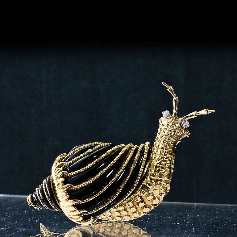 David Webb Black Enamel Snail Brooch In Excellent Condition For Sale In New York, NY