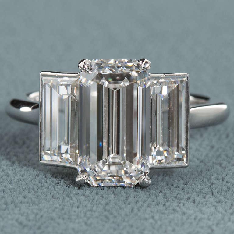 3 10 Carat D Color Internally Flawless Emerald Cut Diamond Platinum Ring at 1