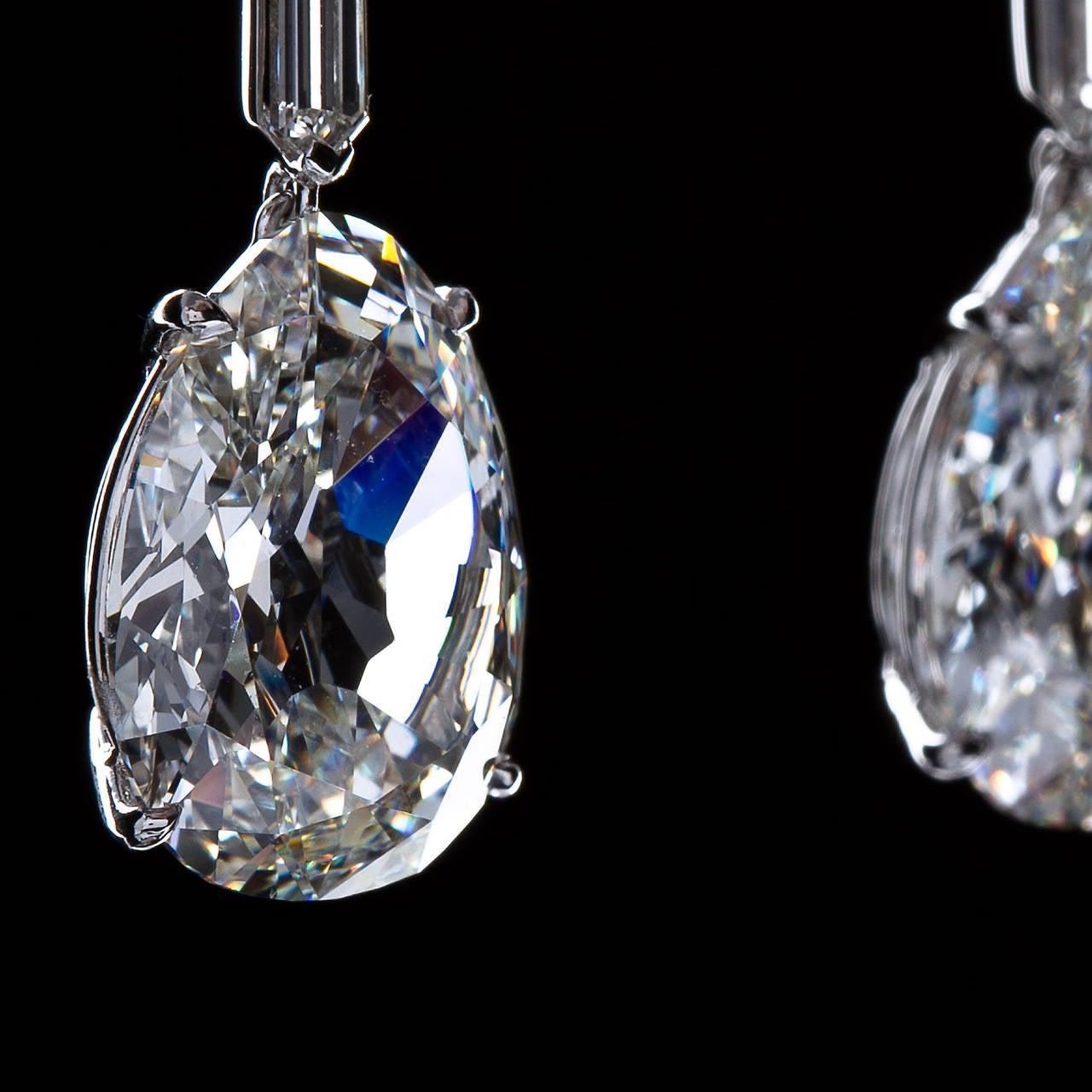 Important 19 Carat Gia Cert Antique Pear Diamond Drop Earrings 2