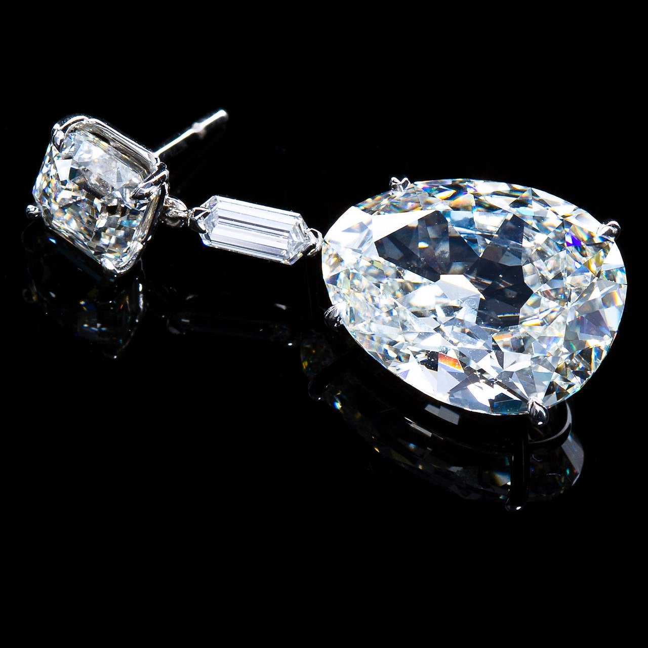 Important 19 Carat Gia Cert Antique Pear Diamond Drop Earrings 3