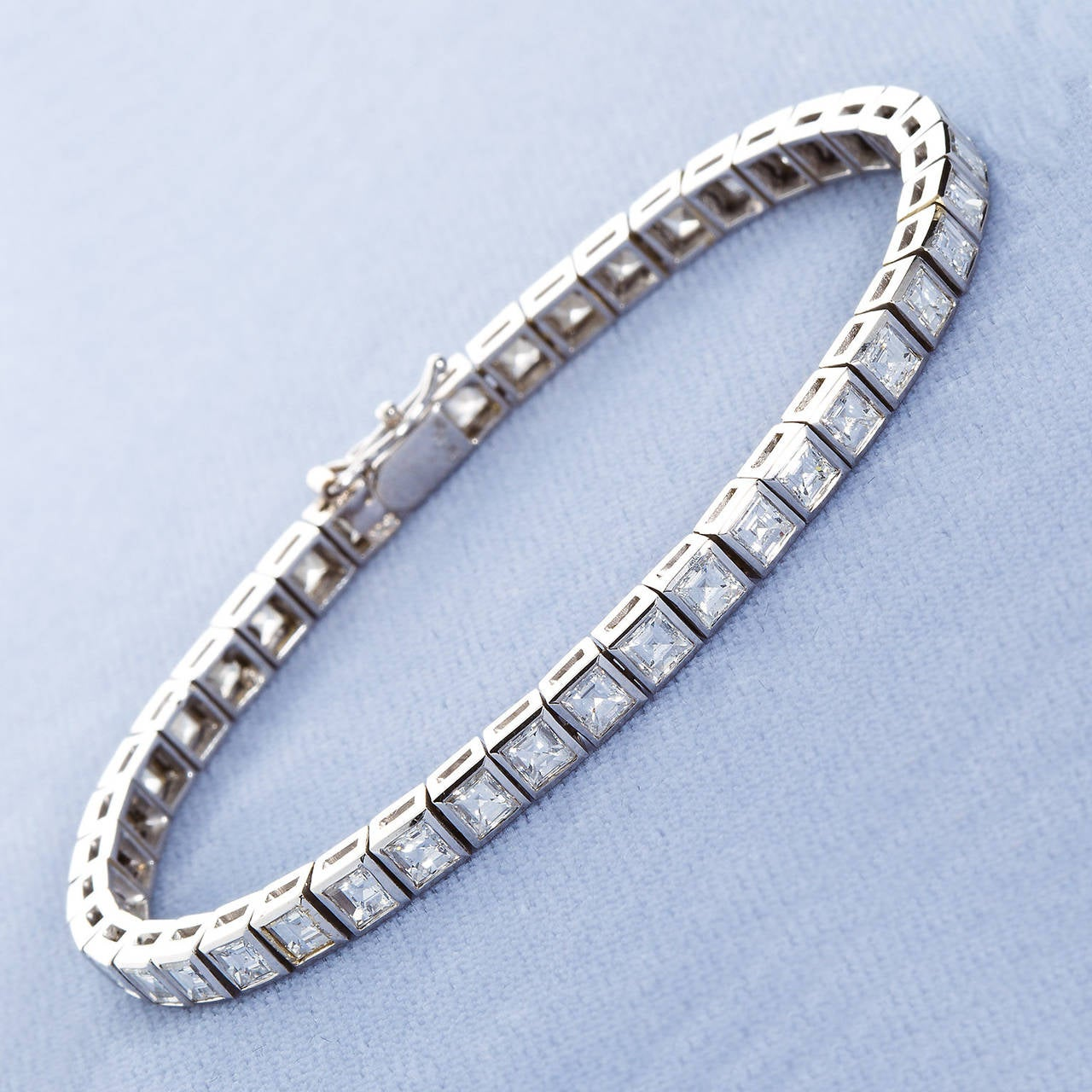 Square Cut Diamond 10 Carat Tennis Bracelet For Sale At