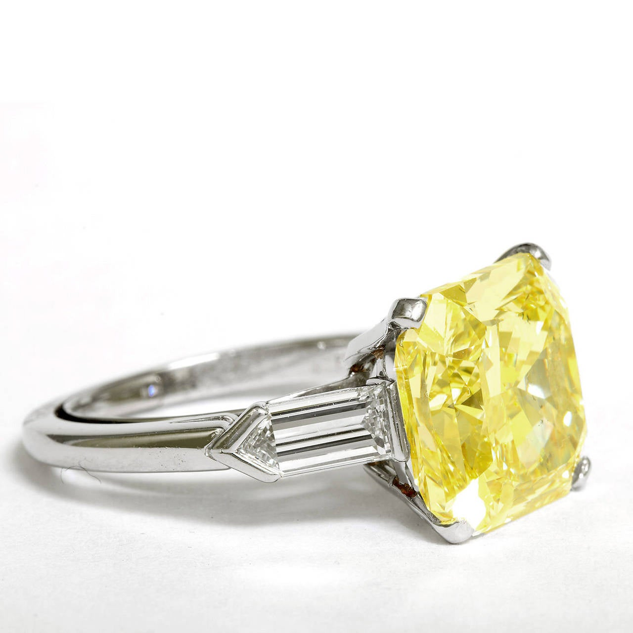 9.05 Carat Fancy Intense Yellow Square Radiant Diamond Engagement Ring GIA Cert In Excellent Condition For Sale In New York, NY