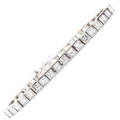 Square Cut Diamond Gold Tennis Bracelet