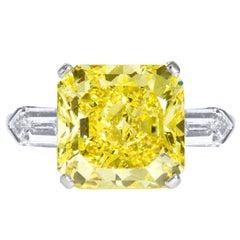 9.05 Carat Fancy Intense Yellow Square Radiant Diamond Engagement Ring GIA Cert