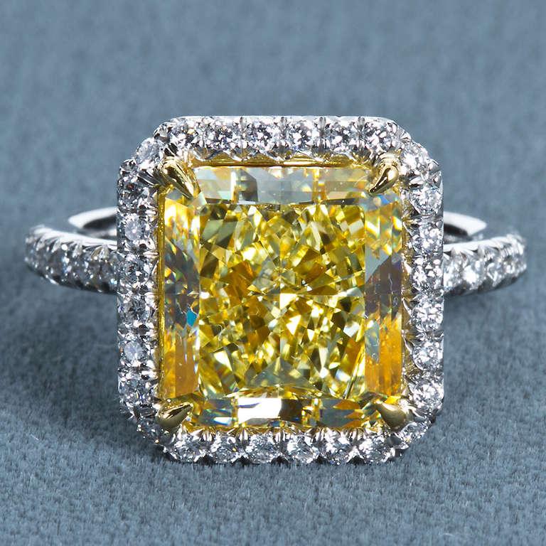 6 Carat Radiant Fancy Yellow Diamond Engagement Ring 8