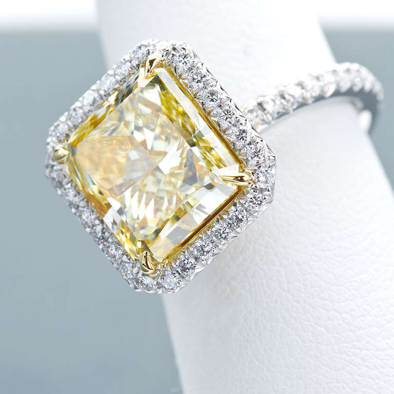 Square Fancy Yellow Diamond Six Carat Engagement Ring For Sale at 1stdibs