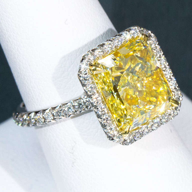 6 Carat Radiant Fancy Yellow Diamond Engagement Ring For Sale at 1stdibs