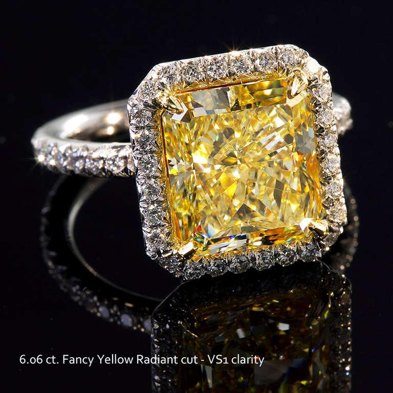 6 Carat Radiant Fancy Yellow Diamond Engagement Ring 4