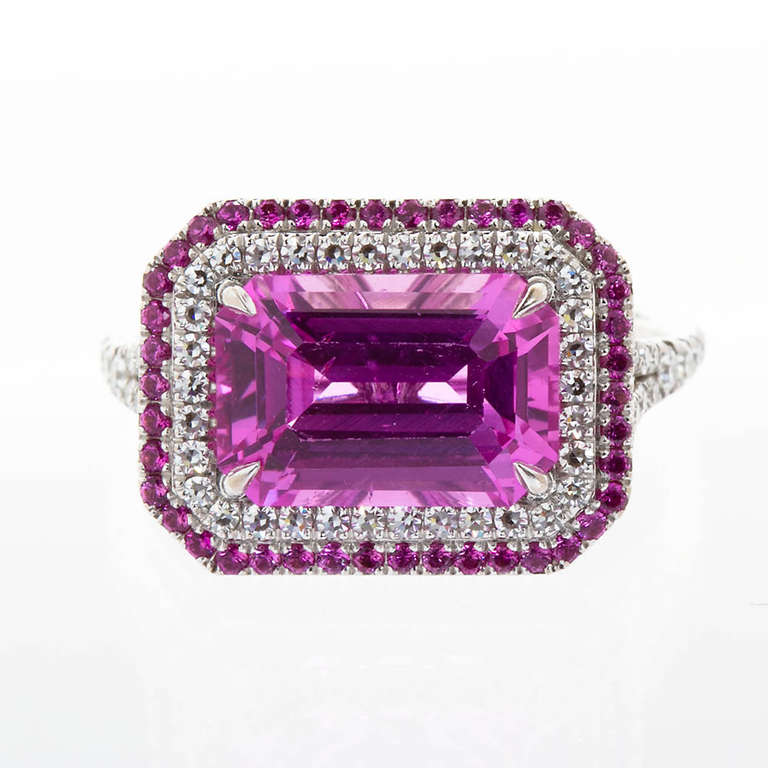 Pink Sapphire Ring Natural No-Heat In Excellent Condition For Sale In Lakewood, NJ