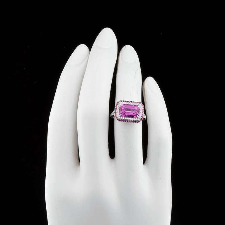 Emerald Cut Pink Sapphire Ring Natural No-Heat For Sale