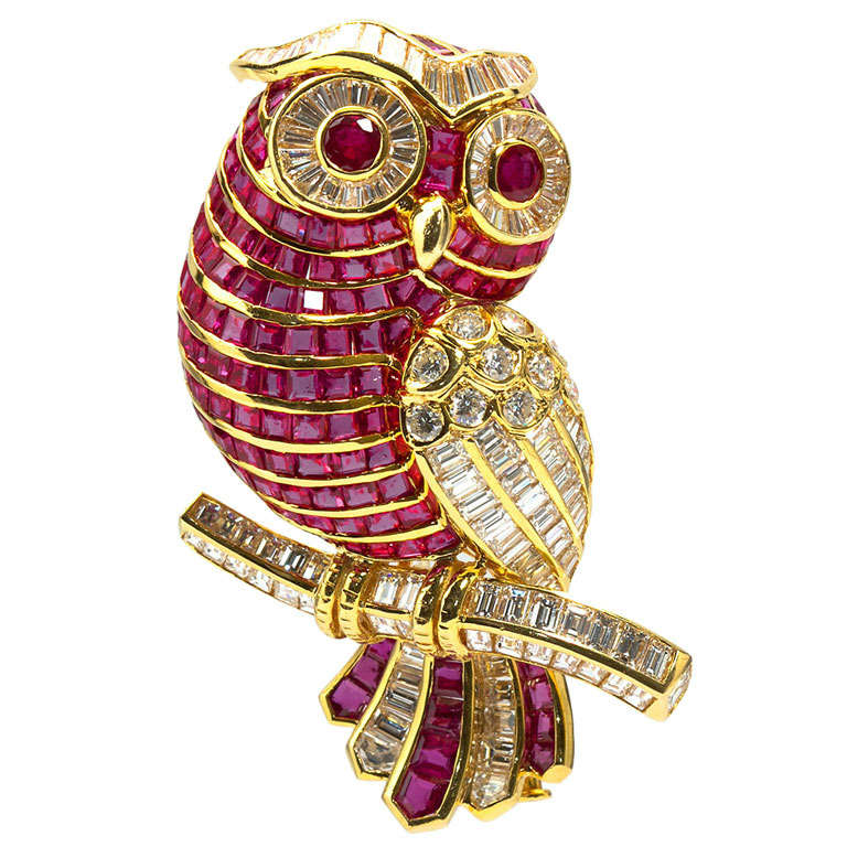 Diamond Ruby Owl Brooch At 1stdibs